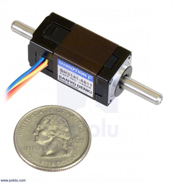Sanyo Miniatur-Schrittmotor: Bipolar, 200 Schritte / Umdrehung, 14 × 30 mm, 6,3 V, 0,3 A / Phase