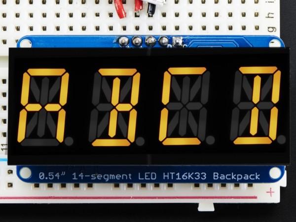 "Adafruit Quad Alphanumeric Display - Yellow 0.54"" Digits w/ I2C Backpack"