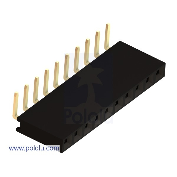 """0.100"""" (2.54 mm) Female Header: 1x10-Pin, Right-Angle"""