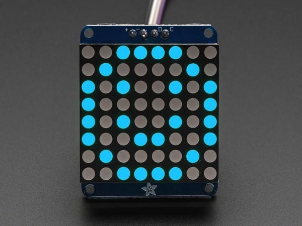 """Adafruit Small 1.2"""" 8x8 LED Matrix w/I2C Backpack - Blue"""