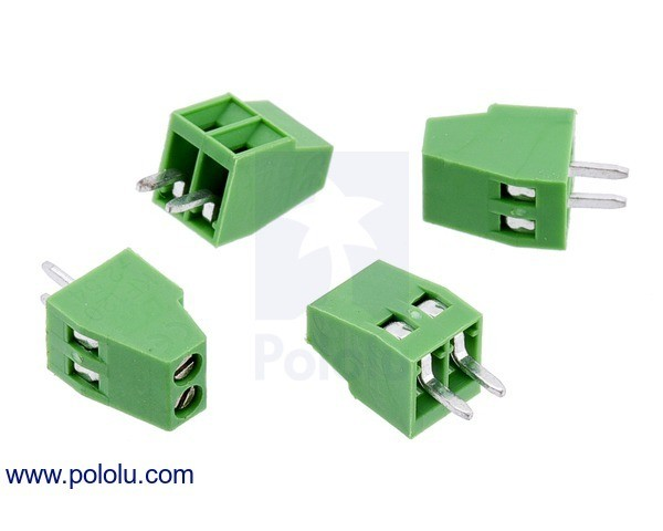 Screw Terminal Block: 2-Pin, 2.54mm Pitch, Side Entry (4-Pack)