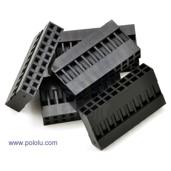 """0.1"""" (2.54mm) Crimp Connector Housing: 2x10-Pin 5-Pack"""