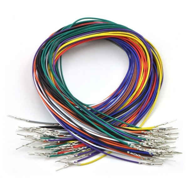 "Wires with Pre-crimped Terminals 50-Piece Rainbow Assortment M-M 24"" (60cm)"