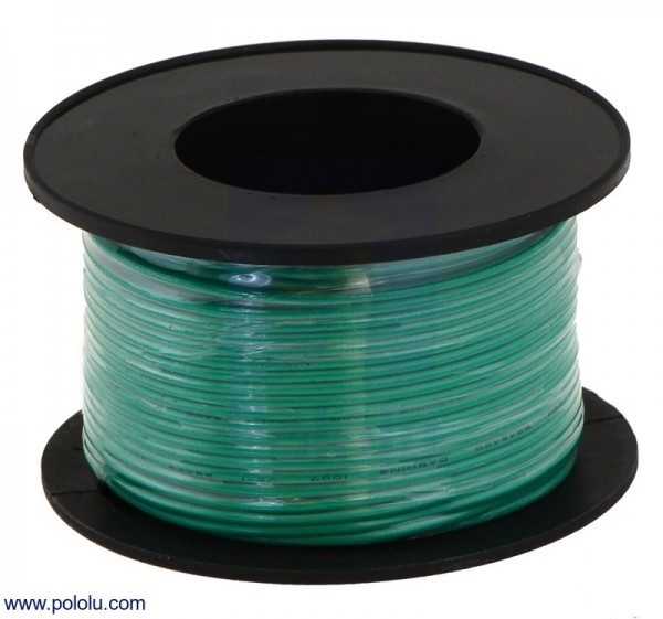 Stranded Wire: Green, 24 AWG, 18m