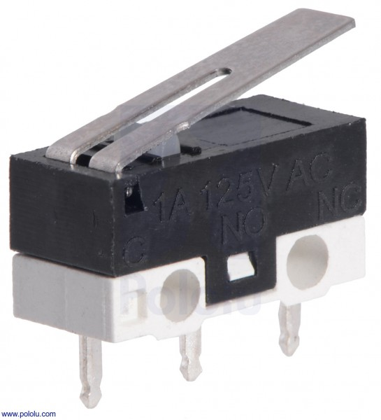 Mini Snap-Action Switch with 13.5mm Lever: 3-Pin, SPDT, 1A