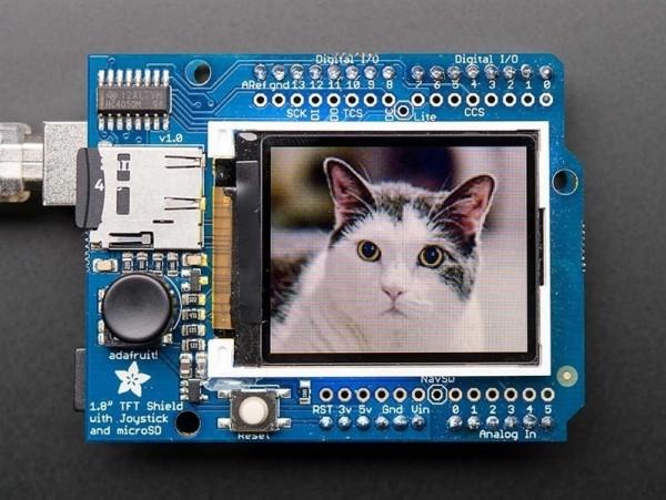 "Adafruit 1.8"" 18-bit Color TFT Shield w/microSD and Joystick"