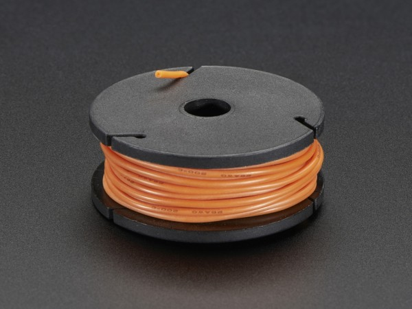 Silicone Cover Stranded-Core Wire - 25ft 7.62m 26AWG - Orange