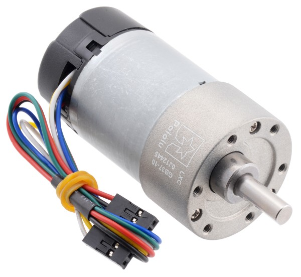 10:1 Metal Gearmotor 37Dx65L mm 12V with 64 CPR Encoder (Helical Pinion)