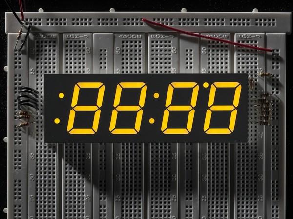 """Yellow 7-segment clock display - 1.2"""" digit height"""